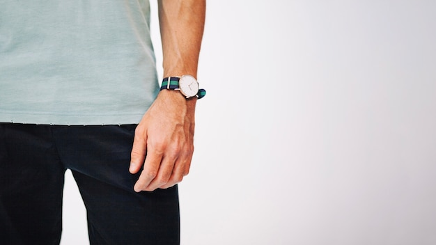 Man' hand with watch