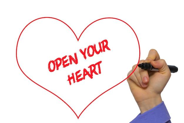 男の手書き透明なワイプボード上のマーカーであなたの心を開きます。白で隔離。