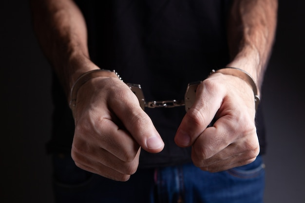 Man handcuffed as criminal concept