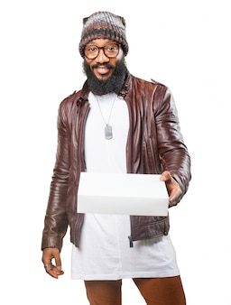 Man handing a white box