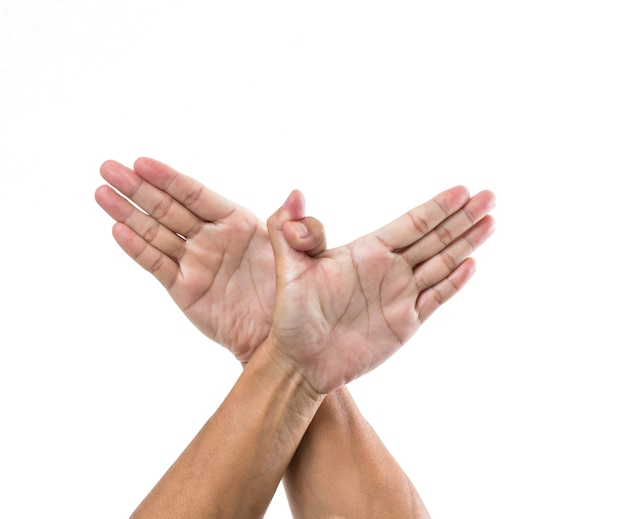 Человек руки жест, как птица, изолированные на белой поверхности