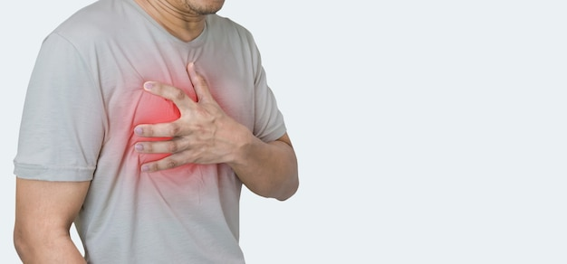 Man hands holding chest with symptom heart attack disease
