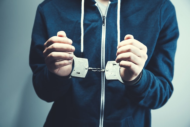Man hands with handcuffs