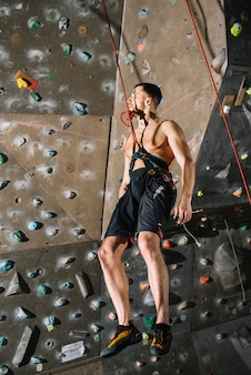 Man hanging on belay