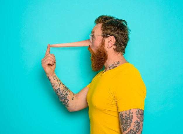 Man has a long nose because he said a lot of lie