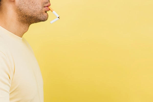 Man having a cigarette with copy space