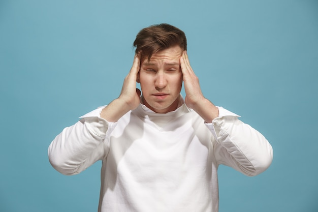 Man having headache. isolated over