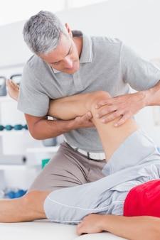 Man having leg massage