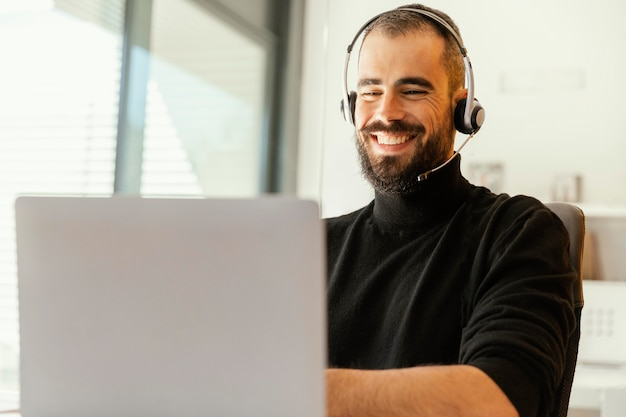 Man having a videocall for work