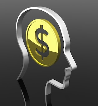 The man head with dollar coin inside. 3d rendering