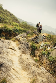 Man hiking with backpack in vietnam