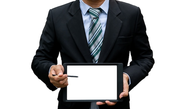 남자 잡아 터치 스크린 태블릿 기술 쇼 흰색 배경