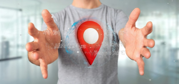 Man holding a 3d rendering pin holder on a globe with coordinates