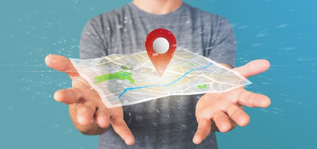Man holding a 3d rendering pin holder on map