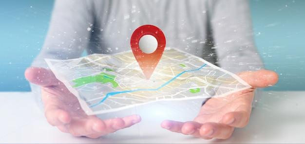 Человек, держащий 3d-рендеринга держатель карты на карте
