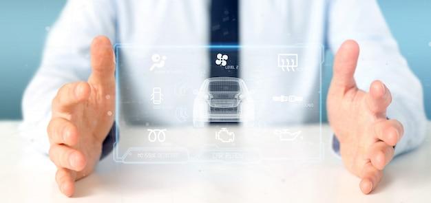 Человек держит рендеринг панели инструментов smartcar 3d-рендеринга