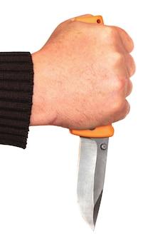 격리 된 흰색 배경에 그의 손에 칼을 들고 남자