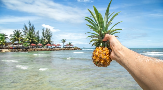 Мужчина держит ананас на фоне красивой экзотической природы