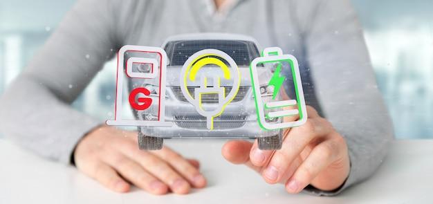 Мужчина держит электрический умный концепт-рендеринг 3d