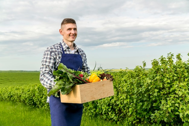 Man holding basket with vegetables at farm