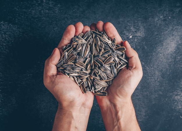 Man holding black sunflower seeds on black background, top view.