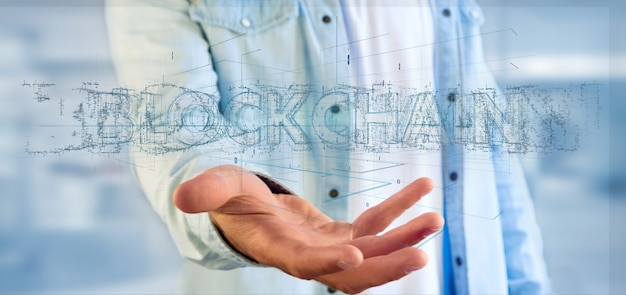 Man holding a blockchain title isolated