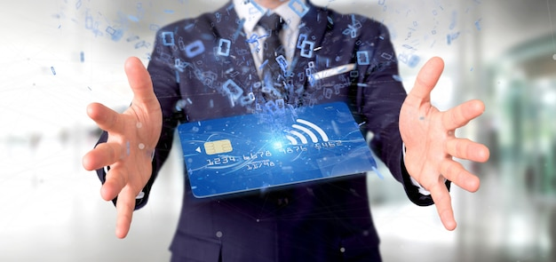 Man holding a contactless credit card payment concept 3d rendering