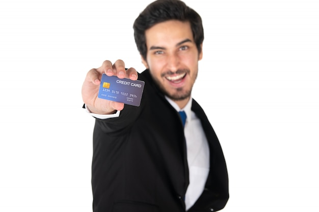 A man holding credit card  isolated on white background (select focus)