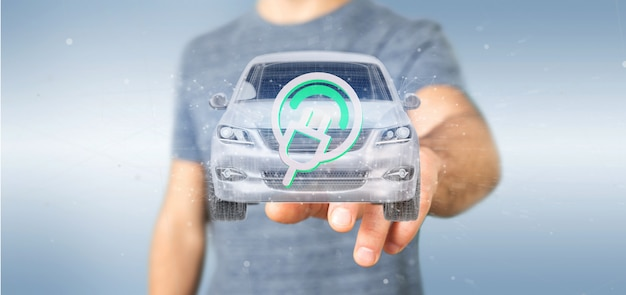 Man holding an electric smartcar concept  3d rendering