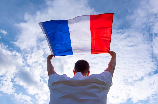 Man holding flag of france, concept picture