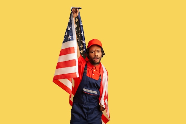 Man holding flag of united states of america human rights i