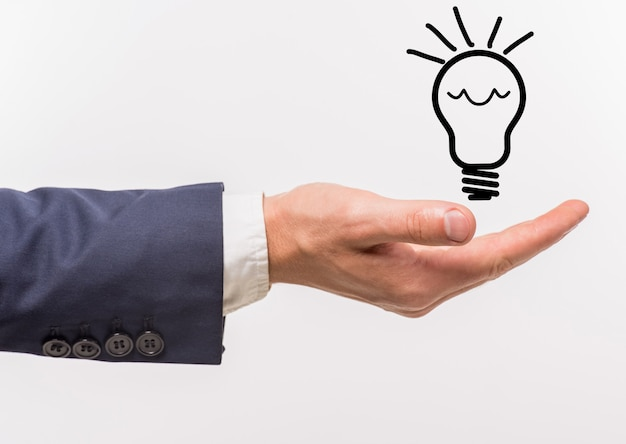 Man holding a good idea in hand on white