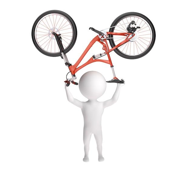 彼の自転車を抱きかかえた