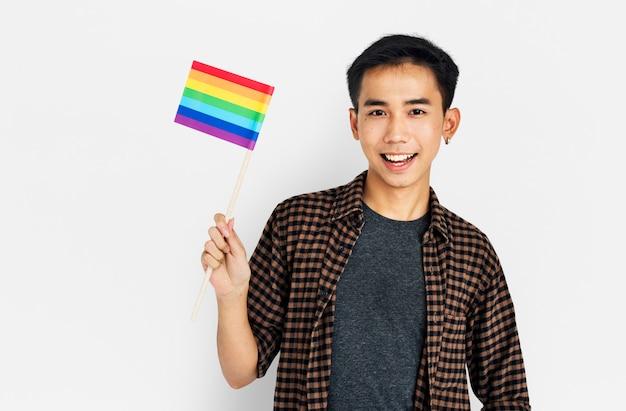 Man holding lgbt flag concept