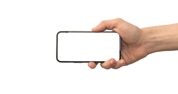 흰색 배경에 가로로 격리된 휴대전화 모형 화면을 들고 있는 남자 photo