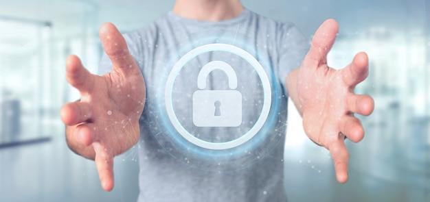 Man holding a padlock web security concept 3d rendering