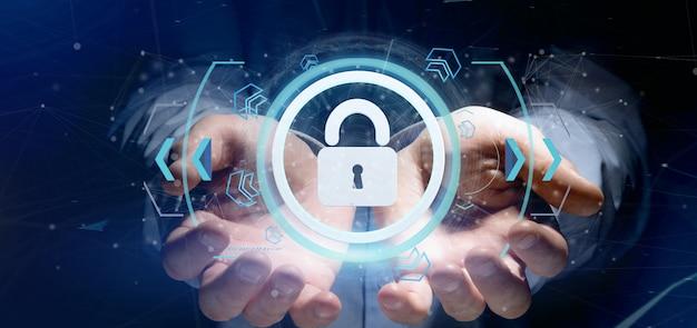 Man holding a padlock web security
