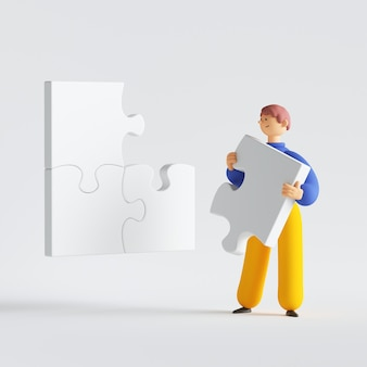 Man holding puzzle piece cartoon character thinking trying resolve the problem