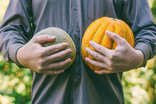 A man holding ripe melons of different varieties