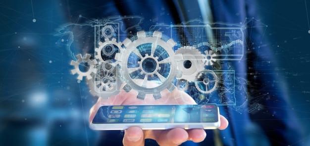 Man holding a technology gear wheel interface
