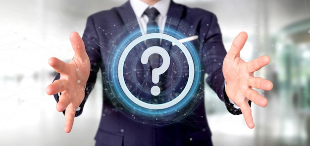 Man holding a technology question mark icon oncircle