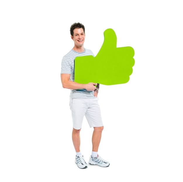 Man holding thumbs up symbol