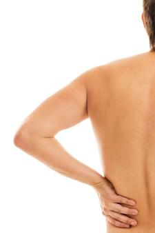 Человек держит спину из-за боли