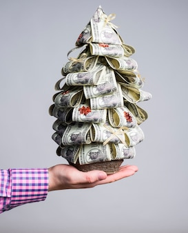 A man holds in his hand a fir tree from banknotes