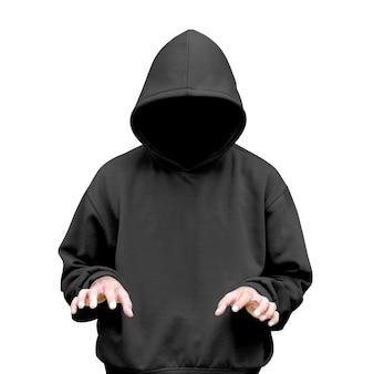 Man in hoodie typing something