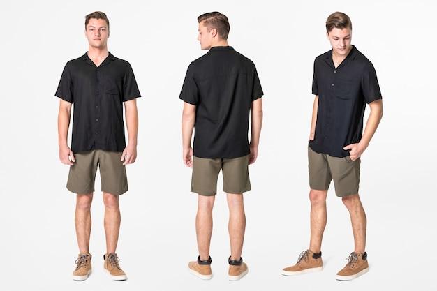 Человек в черной рубашке и шортах, повседневная мода