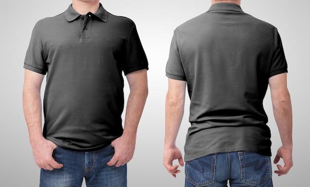 空白のtシャツポロフロントとリアの男が分離されました。