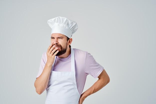 남자 요리사 옷 감정 부엌 일 요리