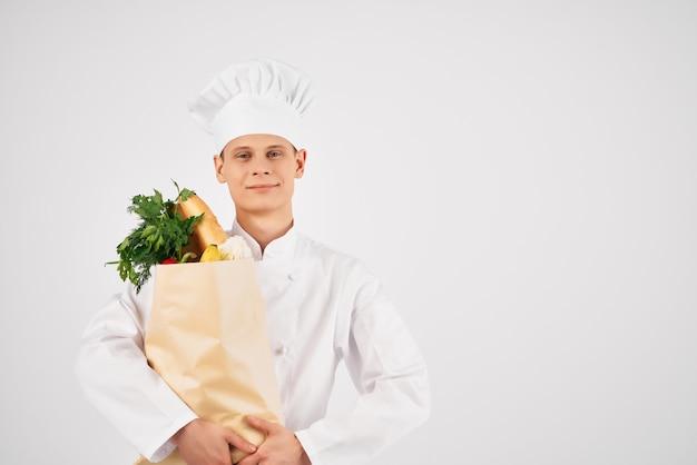 シェフの服の男食品パッケージ健康食品キッチンサービス