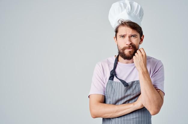 남자 요리사 옷 주방 산업 식품 취급